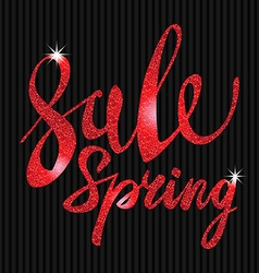 Spring sale red inscription paint glitz glamor vector