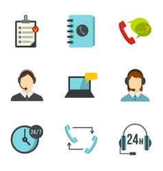 Support help desk icons set flat style vector