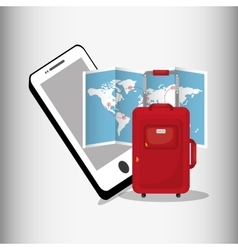 Travel smartphone map red suitcase vector