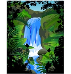 tropical forest background with waterfall vector image vector image