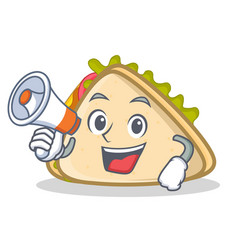 with megaphone sandwich character cartoon style vector image