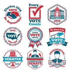 set of Vote labels and badges for elections vector image
