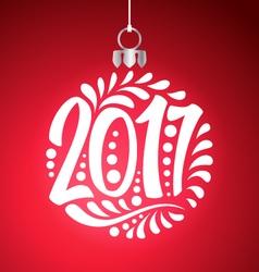 Holidays greeting card christmas ball 2017 year vector