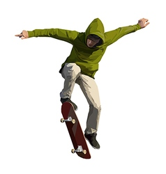 Skateboarder doing a jumping trick vector