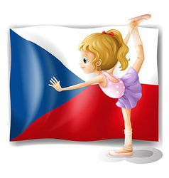 A girl performing ballet in front of the Czech vector image