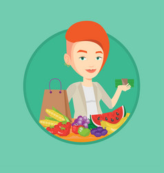 Woman standing at the table with shopping bag vector