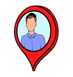 Map pointer with businessman icon cartoon vector