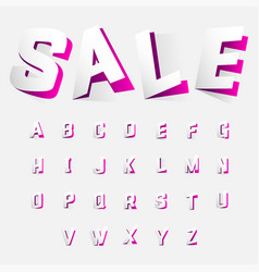 Alphabet letters cut out from paper pink style vector
