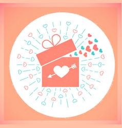 Icon valentine day retro card vector