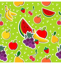 Sewing fruits in block colors seamless pattern vector
