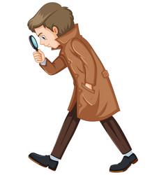 Detective in brown overcoat vector