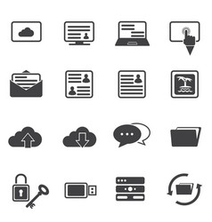Big data icon set cloud computing vector