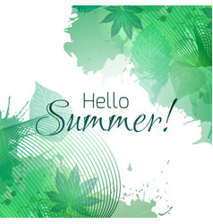 Hello summer summer greeting card with green vector