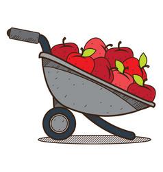 Garden wheelbarrow with apples color farming vector