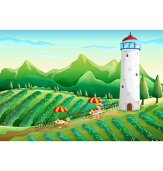 A farm with a young girl enjoying the ambiance vector