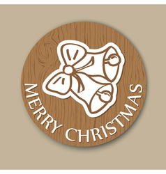 Round wood christmas greening with bell vector