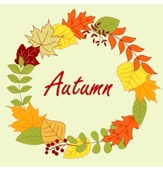 Colorful autumnal leaves frame or wreath vector