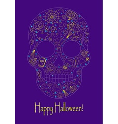 Merry halloween skull with traditional symbols vector