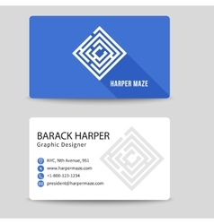 Corporate business card with labyrinth vector