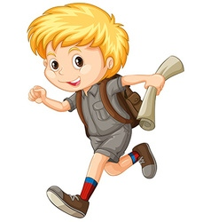 Boy in camping suit running vector image