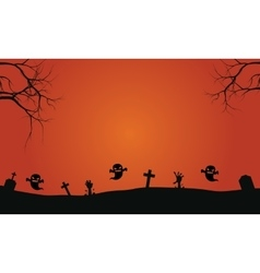 Silhouette of ghost in graves halloween vector image