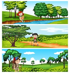 Children hiking in the park vector