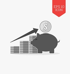 Investing growth concept icon flat design gray vector