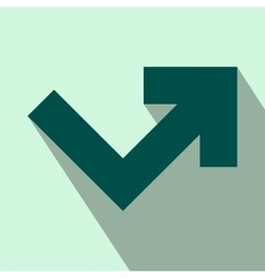 Arrow angle turning to right flat icon vector