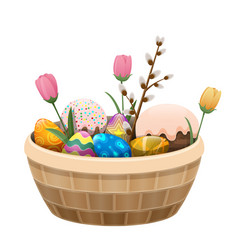 basket of easter attributes isolated vector image vector image