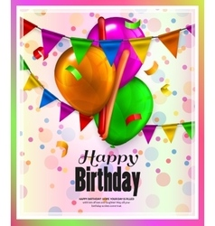 Birthday card with colorful balloons confetti and vector