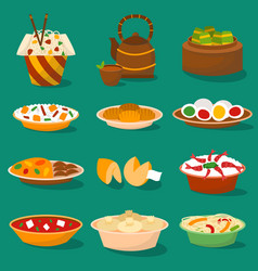 Chinese traditional food asian delicious cuisine vector