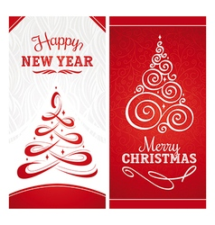 Christmas and new year greeting cards vector