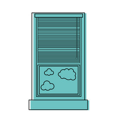 Color window with curtain blind open and clouds vector