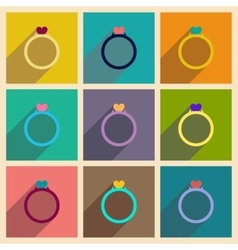 Concept of flat icons with long shadow wedding vector