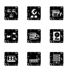 Data cloud icons set grunge style vector