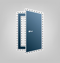 Door sign blue icon with vector