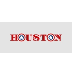 Houston city name with flag colors styled letter O vector image