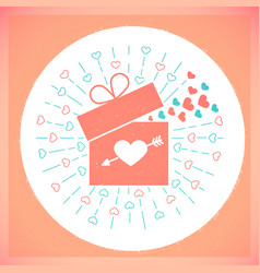 Icon valentine day retro card vector