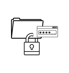 Isolated padlock and password design vector