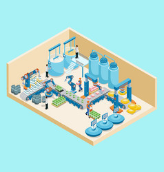 isometric dairy plant template vector image vector image