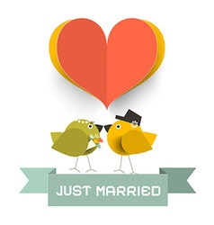 Just married card with paper cut heard and love vector