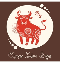 Ox chinese zodiac sign vector