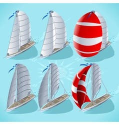Sail boat set 01 vehicle isometric vector