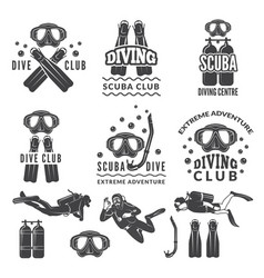 silhouette of scuba and divers labels for sea vector image vector image