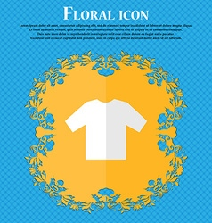 T-shirt floral flat design on a blue abstract vector