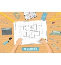 Top view engineer vector