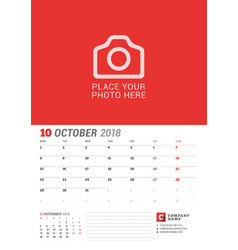 Wall calendar planner for 2018 year october print vector
