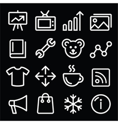Web white navigation line icons set vector image vector image