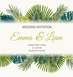 wedding invitation tropical greenery turquoise vector image