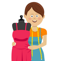 woman tailor working in workshop with new dress vector image vector image